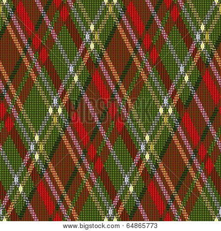 Rhombic Tartan Red And Green Seamless Texture