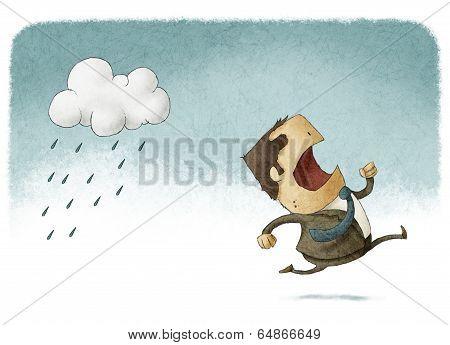 running away from rain