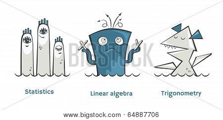 Set of math monsters