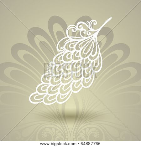 Template with Peerless Feather in Ornate Background