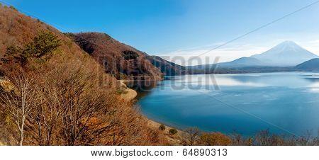 Panorama of Mountain Fuji fujisan with Motosu lake at Yamanashi Japan poster