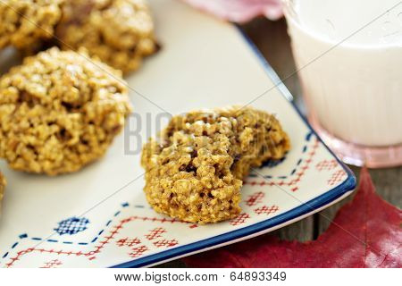 Pumpkin oat cookies on a plate