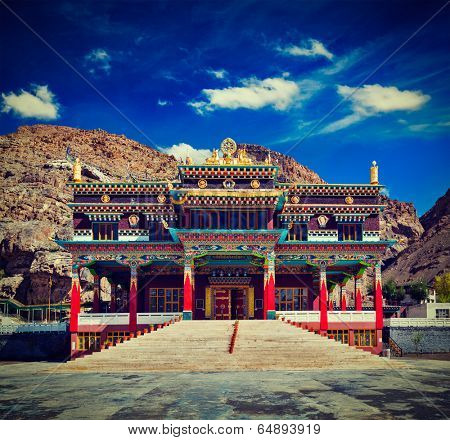 Vintage retro effect filtered hipster style travel image of Buddhist monastery in Kaza. Spiti Valley, Himachal Pradesh, India