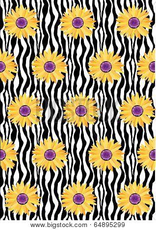 Daisy Flower Pattern Zebra