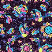 Seamless pattern or background with sunbird Phoenix and sunflower in violet style for your design poster