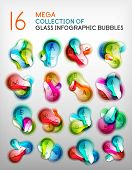 Mega collection of abstract bubble infographics.  poster