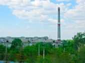 Smoke stack. Color bright outdoor scene photo. poster