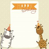 Happy Birthday card background with zebra and giraffe poster