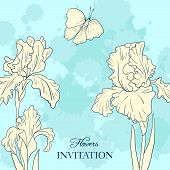 vintage floral card with bouquet  of irises and butterfly, flowers composition, hand drawn vector illustration poster