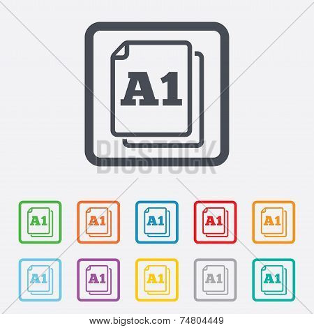 Paper size A1 standard icon. File document symbol. Round squares buttons with frame. Vector poster