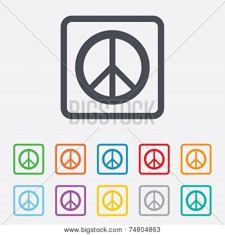 Peace sign icon. Hope symbol. Antiwar sign. Round squares buttons with frame. Vector poster