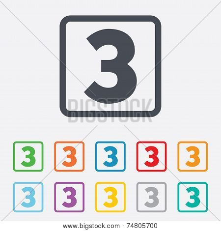Third place award sign. Winner symbol. Step three. Round squares buttons with frame. Vector poster