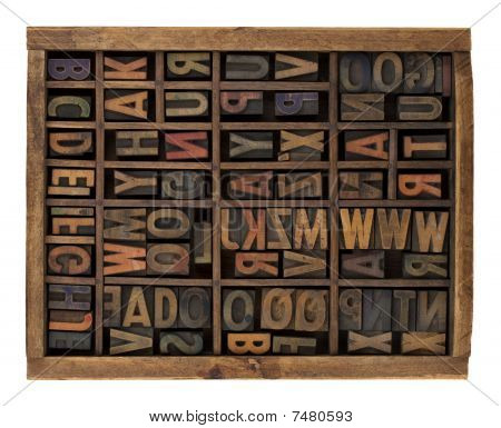 vintage wood letterpress types stained by ink placed randomly in typesetter drawer isolated on white poster