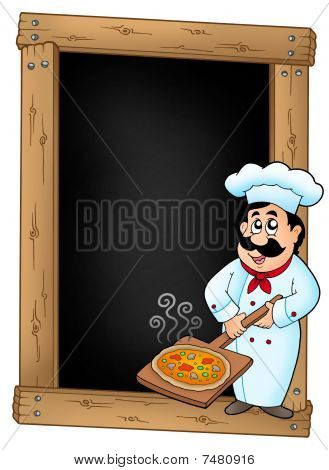 Blackboard With Chef And Pizza Plate