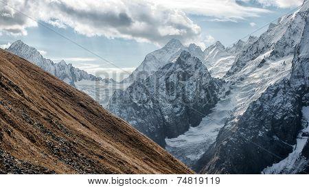 Dombai. Scenery Of Rockies In Caucasus Region In Russia