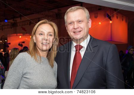 MOSCOW - OCTOBER 17: S. Kapkov, A. Doletskaya. Talk show. Art, education, and culture during First Moscow International Forum on October 17, 2014 in Moscow, Russia.