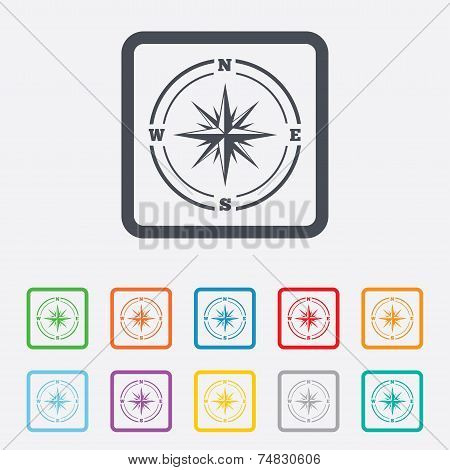 Compass sign icon. Windrose navigation symbol. Round squares buttons with frame. Vector poster