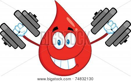 Smiling Red Blood Drop Cartoon Mascot Character Training With Dumbbells