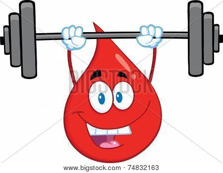Red Blood Drop Cartoon Mascot Character Lifting Weights