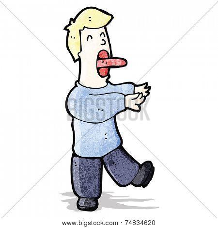 cartoon sleepwalking man