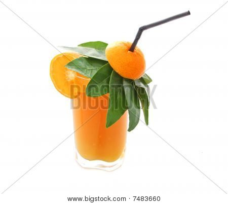 poster of A glass of freshly squeezed orange juice with a straw and umbrella made of orange leaves isolated on white