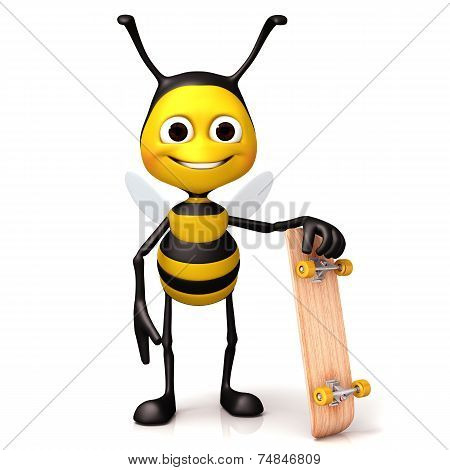 Bee hold a skate board