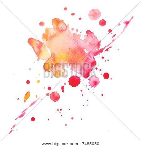 An abstract water-coloured painted grungy pink and orange blot poster