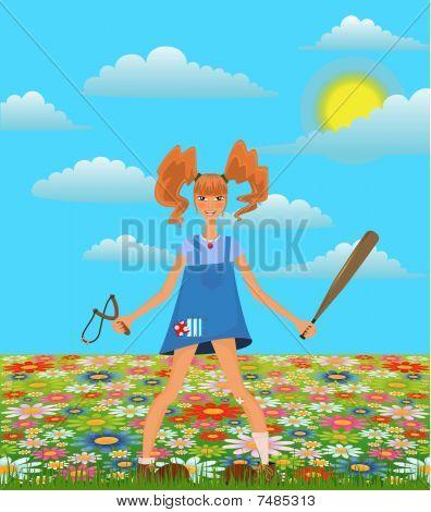 girl in style of Pippi Longstocking