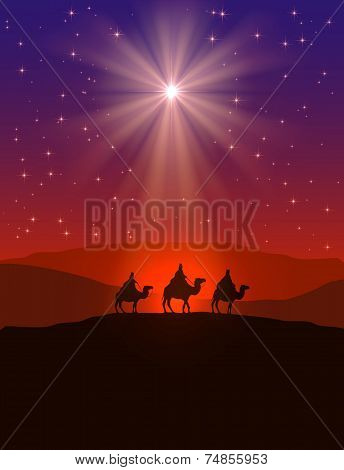 Christmas Star And Three Wise Men