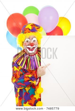 Clown Points To Sign