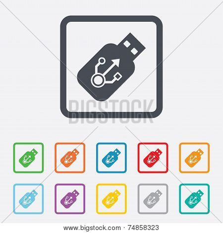 Usb sign icon. Usb flash drive stick symbol. Round squares buttons with frame. Vector poster