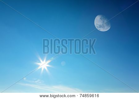 Moon And Sun Together On Sky
