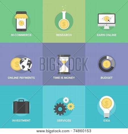 Online Commerce Flat Icons Set