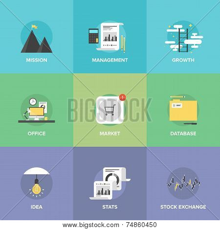 Modern Business Development Flat Icons Set