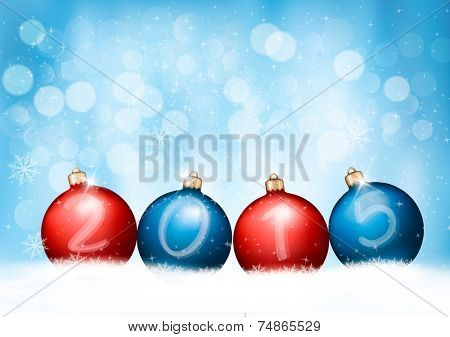 Christmas background with a 2015 made out of baubles. Vector. poster