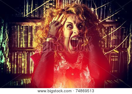 Portrait of a crazy funny witch in the wizarding lair. Fairytales. Halloween.