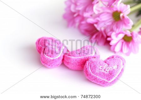 Valentine Heart Fabric With Pink Chrysanthemum