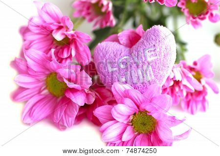 Valentine Heart Fabric With Pink Chrysanthemum- Stock Image