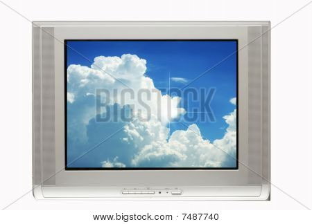 Dramatic Clouds In Tv Monitor