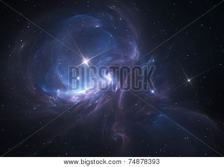 Space Nebula. Cloud of gas and dust blocks the light of distant stars. poster