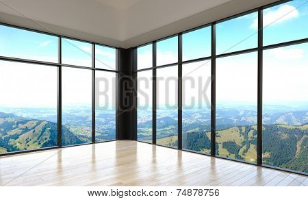 3d Rendering of Simple Stylish Empty Room with Overlooking Outside View from Glass Walls Design.