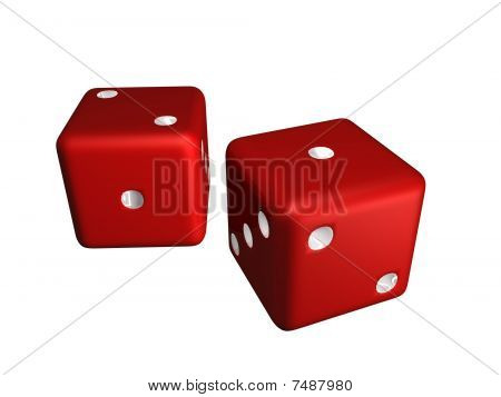 Two Red Dice showing a one and a two