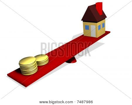 Money outweighs a house on a scale
