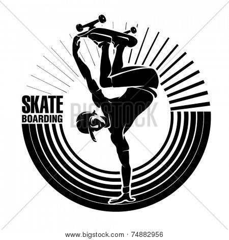 Skateboarding. Vector illustration in the engraving style
