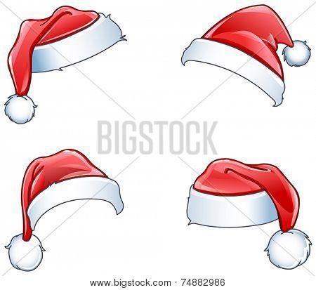 Glossy Santa hats set