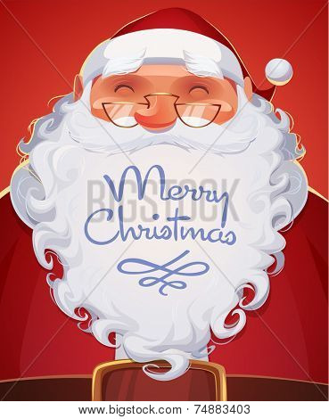 Santa Claus portrait. Christmas card \ poster \ banner. Vector illustration.