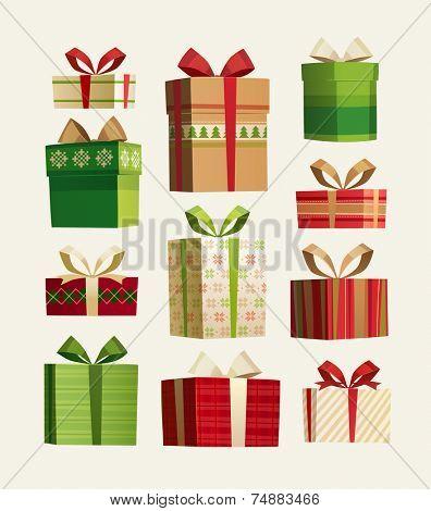 Gift set. Christmas card \ poster \ banner. Vector illustration.