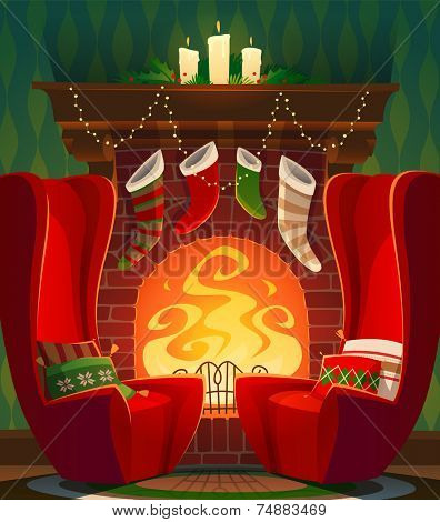 Fireplace. Christmas card \ poster \ banner. Vector illustration.