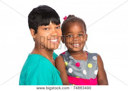 Smiling African American Mom Holding Baby Girl Isolated on White Background