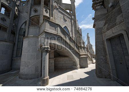 Sacred Heart Of Jesus Temple On Tibidabo Mountain, Barcelona, Spain.